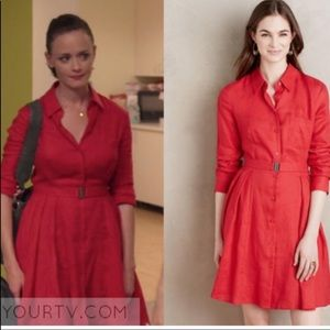 HD Paris Red Linen Long Sleeve Button Down Dress